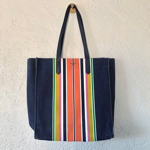 Kate Spade Kitt Stripe North South Tote Beach Bag